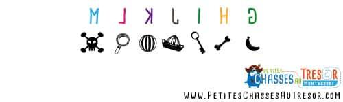 Symbole pour Chasse au trésor coder alphabet