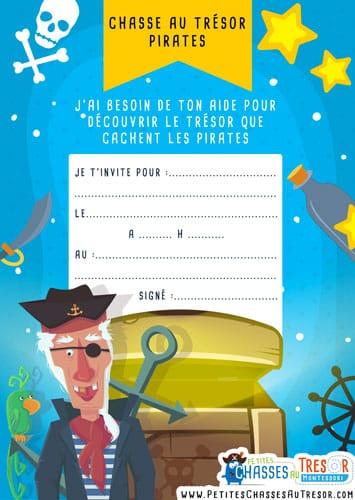 carte d'anniversaire chasse au trésor de pirate