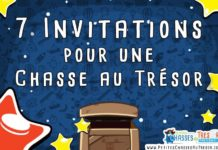 Invitation pour en chasse au trésor d'enfants