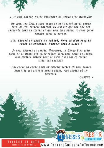 Lettre à imprimer chasse au trésor forêt