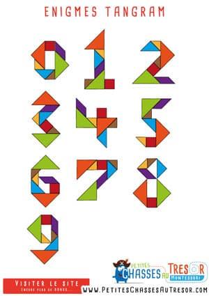 Modèle d'énigme pour chasse au trésor à imprime sur la base de tangram