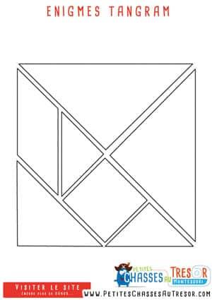 Enigme tangram pour enfant pour faire une chasse au trésor