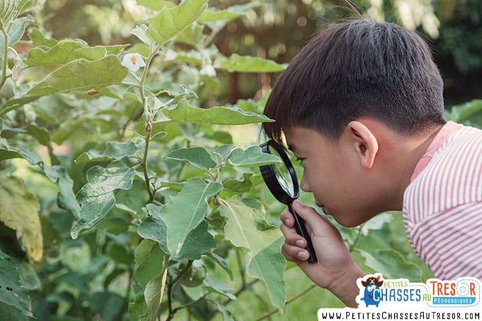 enfant curieux de science qui regarde la nature