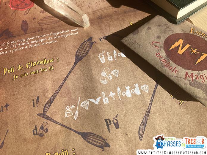 Message codé pour l'escape game sur le thème d'Harry Potter