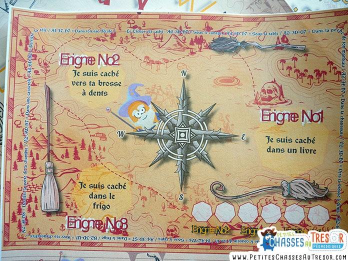 La carte au trésor de la chasse au trésor d'Harry Potter