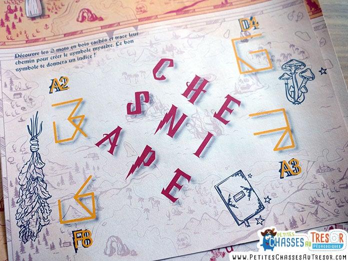 énigme avec des lettres sur le thème d'Harry Potter
