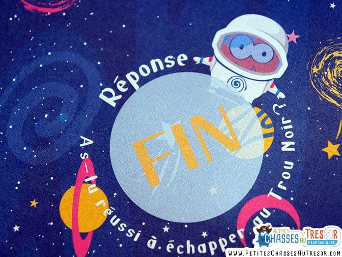 Fin de l'histoire de l'escape game pour enfant sur le thème de l'univers